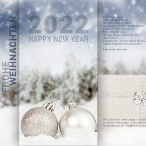 extravagante Weihnachts E-Card mit Geschenkspaket, silberen & weißen Kugeln (295)