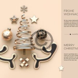stylische, geschäftliche Weihnachts-E-Card, ohne Werbung in Pastellfarben (0523)