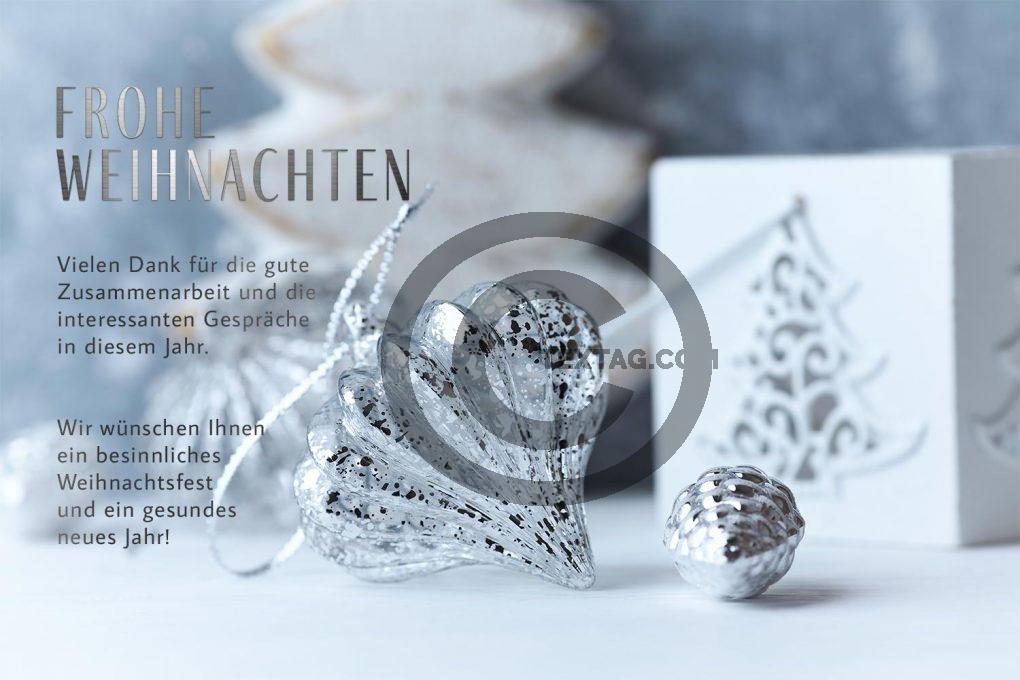umweltfreundliche, geschäftliche Weihnachts E-Card in Silber, mit Spruch, ohne Werbung (537)