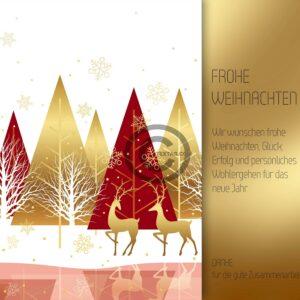 extravagante, umweltfreundliche Weihnachts E-Card geschäftlich in Rot und Gold, ohne Werbung (580)