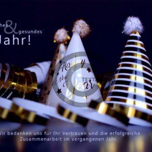 edle Neujahrsgrußkarte für Kunden, E-Card mit Spruch, ohne Werbung (645)