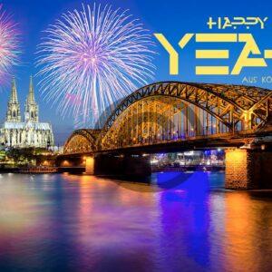 Neujahrsgrußkarte Happy New Year aus Köln, ohne Werbung (657)