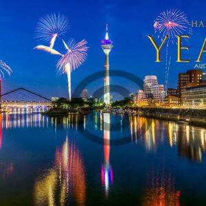 Neujahrsgrußkarte Happy New Year aus Düsseldorf, ohne Werbung (658)