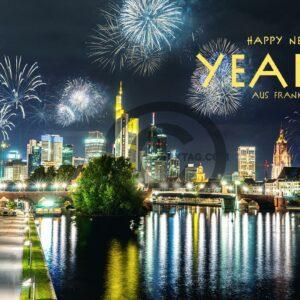 Neujahrsgrußkarte Happy New Year aus Frankfurt am Main, ohne Werbung (659)