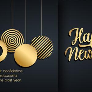 Happy New Year, geschäftliche Neujahrs E-Card mit Spruch in EN, Schwarz & Gold, ohne Werbung (635)