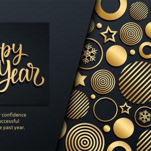 Happy New Year, geschäftliche Neujahrs E-Card mit Spruch in EN, Schwarz & Gold, ohne Werbung (636)