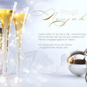 luxuriöse Neujahrsgrußkarte für Kunden, E-Card mit Spruch, ohne Werbung (647)