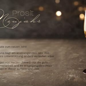 luxuriöse Neujahrsgrußkarte für Kunden, E-Card mit Spruch, ohne Werbung (651)