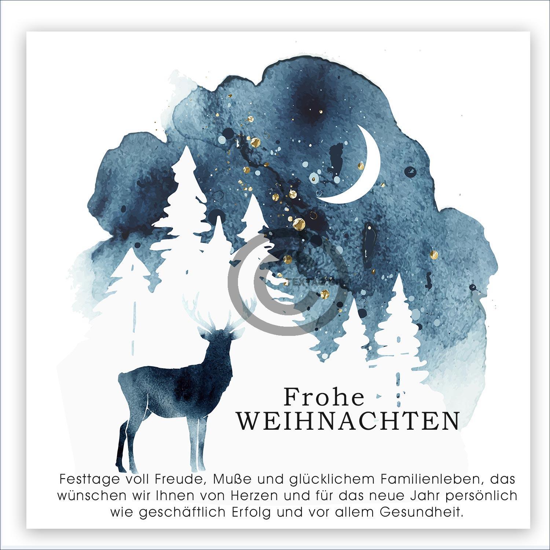geschäftliche Weihnachts E-Card in Blau / Weiß mit Hirsch, ohne Werbung, mit Spruch (661)