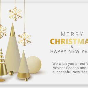 Merry Christmas - Weihnachts E-Card in Weiß & Gold mit Spruch / EN (666)