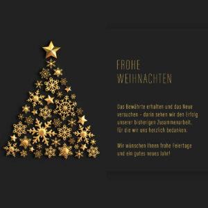 geschäftliche Weihnachts eCard in Schwarz & Gold, ohne Werbung (668)