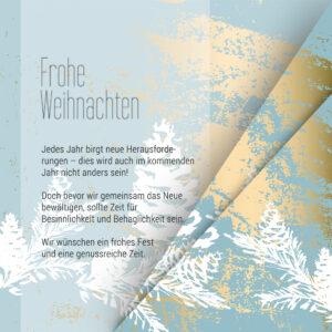 abstrakte, geschäftliche Weihnachts-E-Card in Blau, Gold und Pastell, ohne Werbung, mit Spruch (0672)