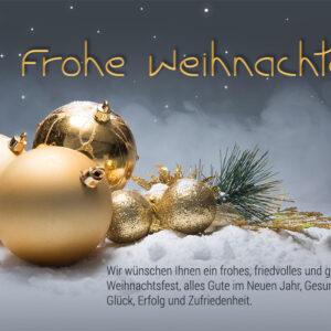 digitale Weihnachtskarte für Kunden, mit goldenen Kugeln und Spruch, E-Card, ohne Werbung (0673)