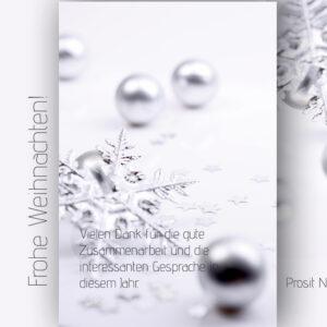 elegante, geschäftliche Weihnachts E-Card mit Spruch, ohne Werbung in Silber (00680)