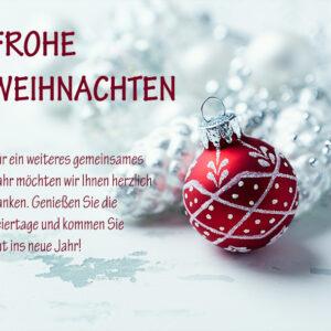 elegante Weihnachts E-Card mit roter Christbaumkugel, E-Card mit Spruch, ohne Werbung (681)
