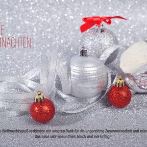 digitale Weihnachts E-Card für Kunden in Silber und Rot, ohne Werbung mit Spruch (683)