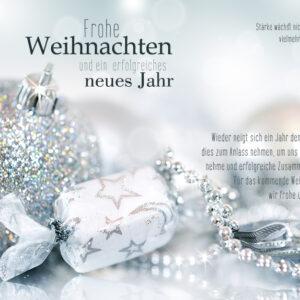 exklusive, geschäftliche Weihnachts E-Card mit Spruch, ohne Werbung, Silber (00687)