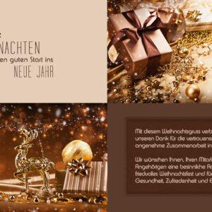 extravagante, digitale Weihnachtskarte für Kunden, eCard in Bronze, Gold & Pastell, ohne Werbung (690)