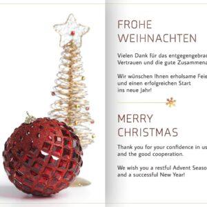elegante Weihnachts E-Card geschäftlich in Rot, Gold & Weiß, ohne Werbung, Spruch in DE & EN (0693)