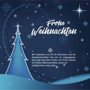 geschäftliche Weihnachts E-Card in Blau mit Spruch, ohne Werbung (694)