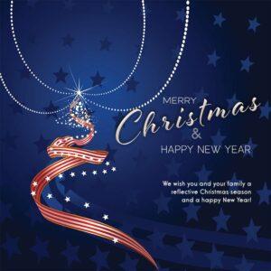 Weihnachts E-Card für Kunden in Blau, Rot und Weiß, mit Spruch in EN, ohne Werbung (695)