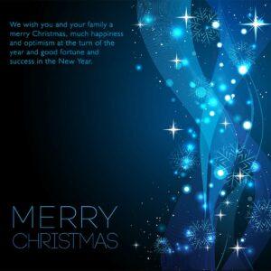 extravagant glänzende Weihnachts E-Card für Kunden in Blau/Türkis mit Spruch in EN, ohne Werbung (697)