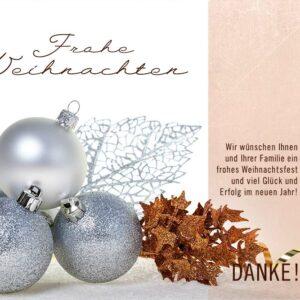 extravagante, digitale Weihnachtskarte für Kunden, eCard in Silber, Bronze & Weiß, mit Spruch, ohne Werbung (698)