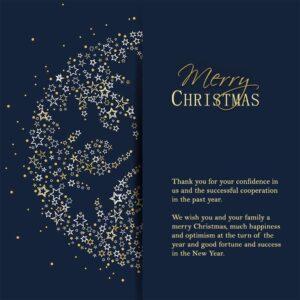 elegante, geschäftliche Weihnachts E-Card mit Spruch in EN , Blau & Gold, ohne Werbung (700)
