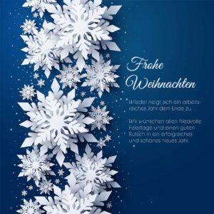 edle Weihnachts E-Card mit 3D-Effekt, Spruch in DE, Blau / Weiß, ohne Werbung (701)