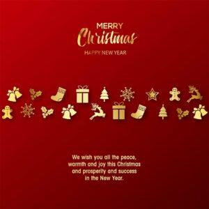 umweltfreundliche, Weihnachts eCard für Kunden in Rot & Gold, Spruch auf englisch (703)